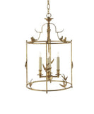 Diego Grande Classical Perching Bird Lantern, Gilded Gold