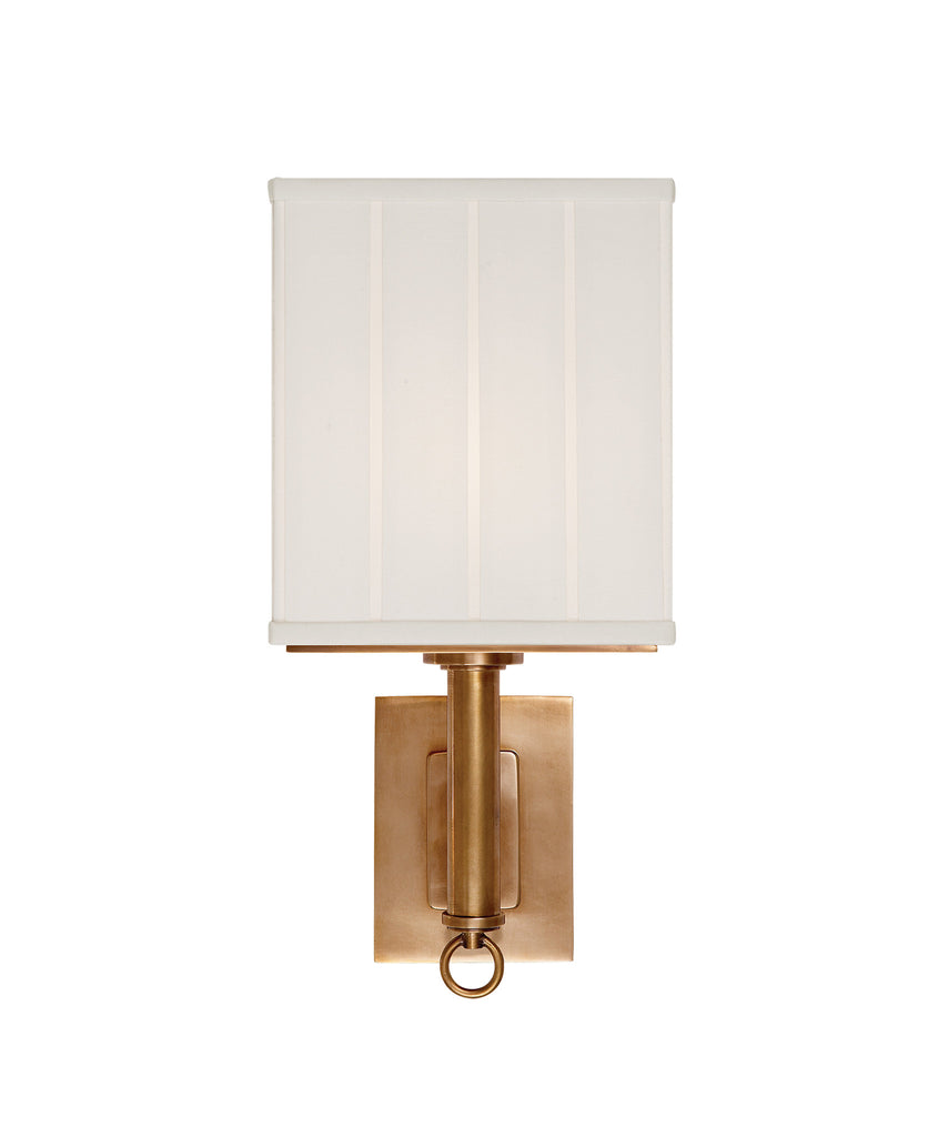 Germain Large Single Sconce with Silk Pleated Shade, Brass