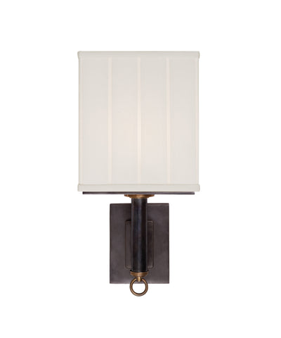 Germain Large Single Sconce with Silk Pleated Shade, Bronze
