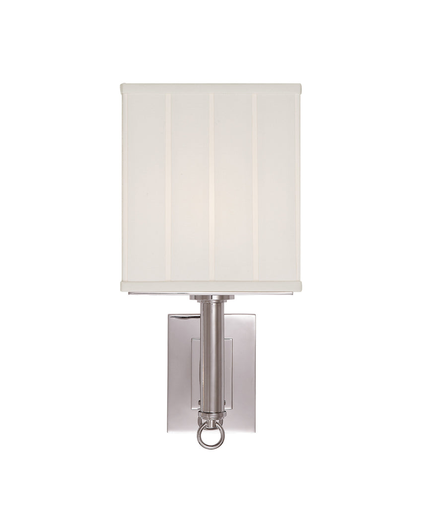 Germain Large Single Sconce with Silk Pleated Shade, Polished Nickel