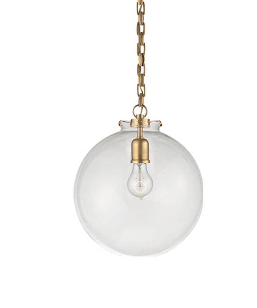 Large Katie Globe Pendant Clear Glass With Antique Brass High Street Market