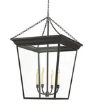 Large Cornice Hanging Lantern, Black Rust