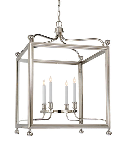 Large Greggory Hanging Lantern, Polished Nickel