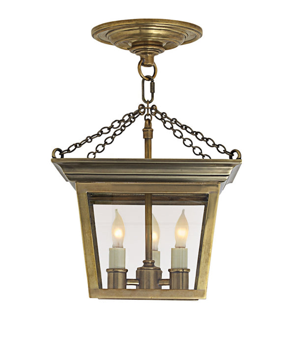 Cornice Semi-Flush Ceiling Lantern, Antique Brass