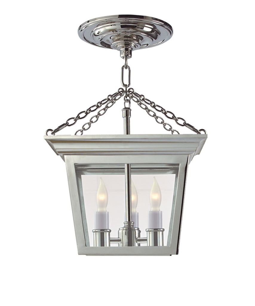 Cornice Semi-Flush Ceiling Lantern, Polished Nickel