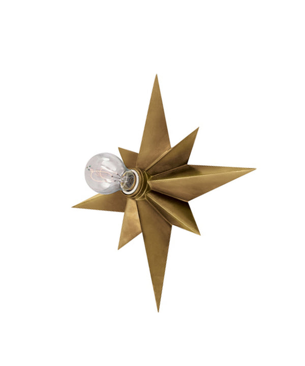 Star Flush Mount Wall Sconce, Antique Brass