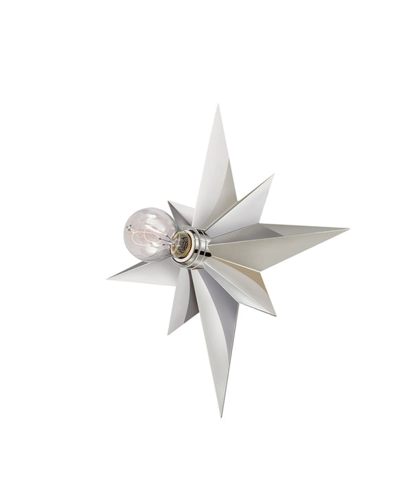 Star Flush Mount Wall Sconce, Polished Nickel