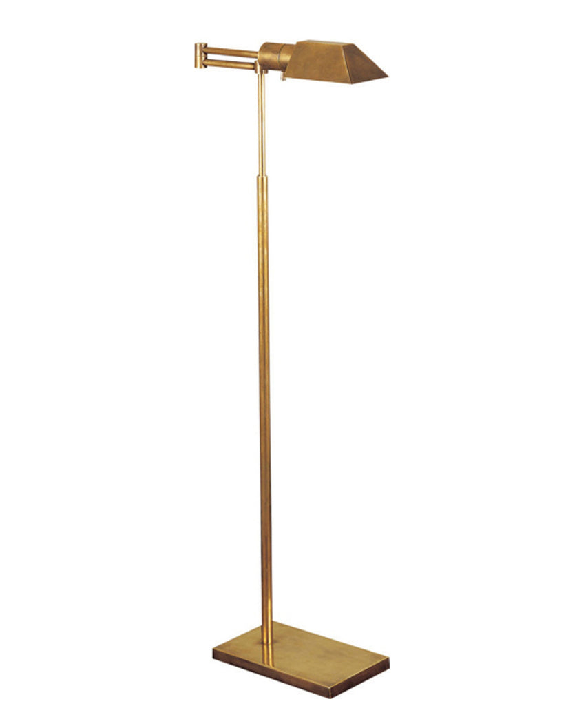 Studio Swing Arm Floor Lamp, Antique Brass