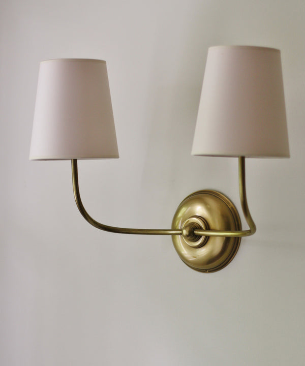 Vendome Double Wall Sconce, Antique Brass