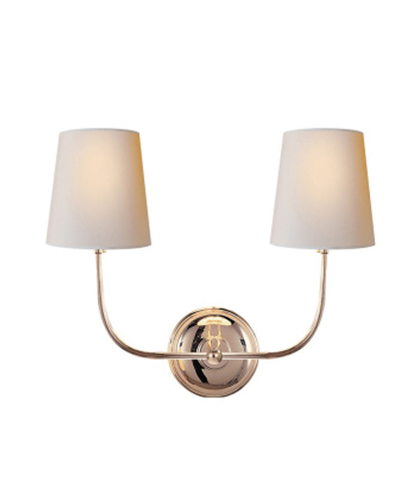 Vendome Double Wall Sconce, Polished Nickel