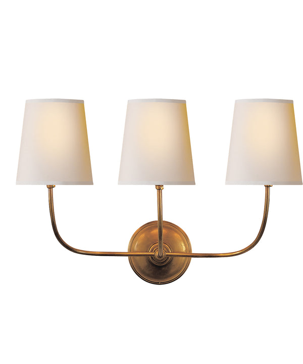 Vendome Triple Wall Sconce, Antique Brass