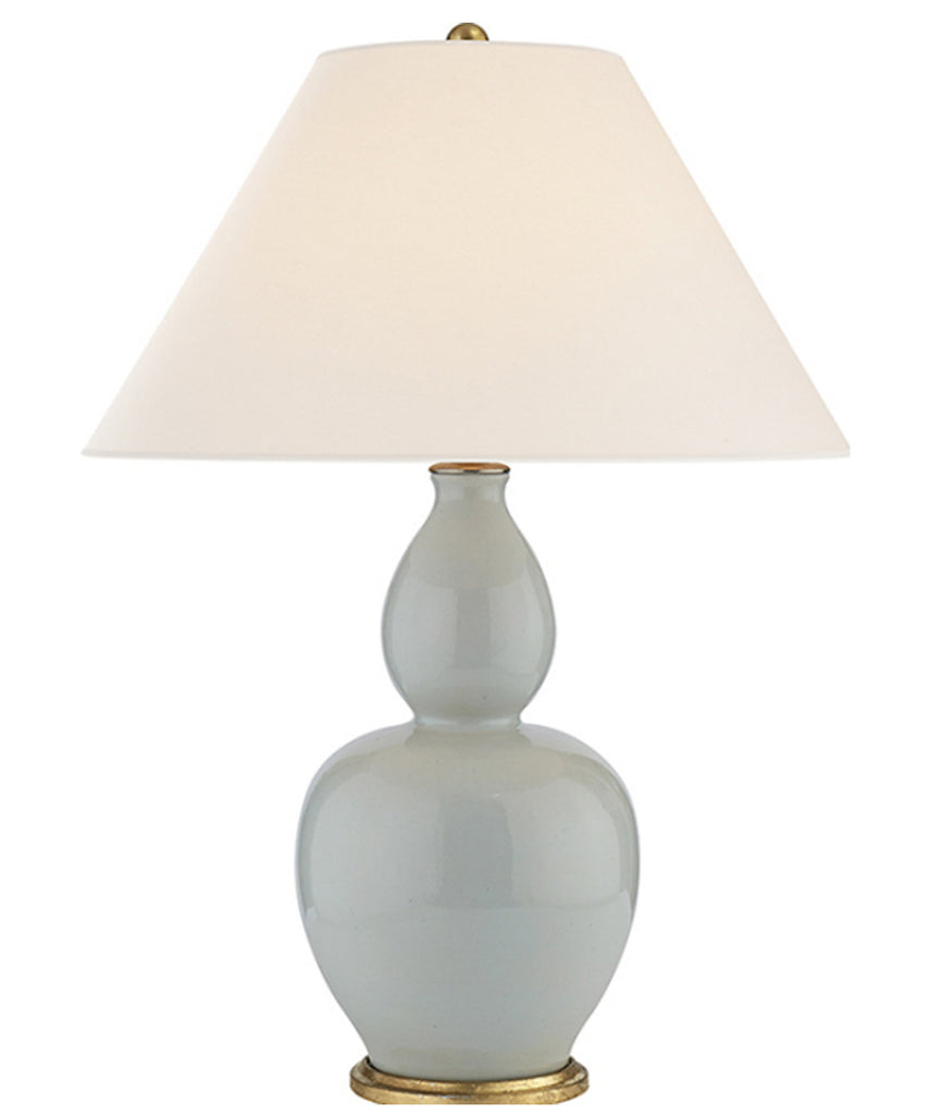 Yue Double Gourd Porcelain Table Lamp, Ice Blue