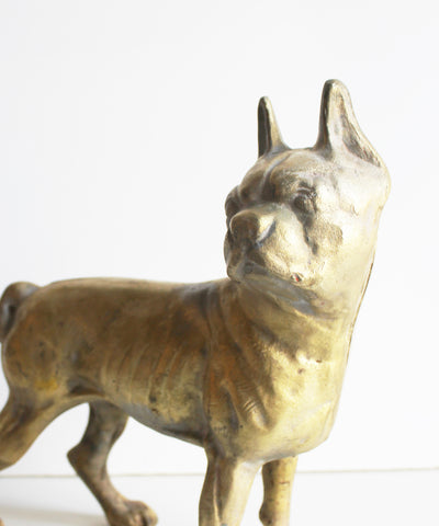 Antique Brass Bronze Boston Terrier Doorstop, Hubley
