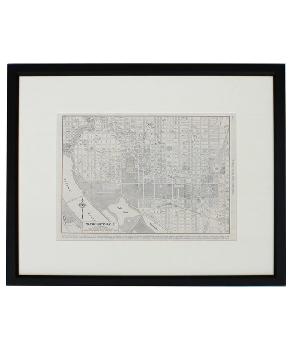 Vintage Framed City Map, Washington DC