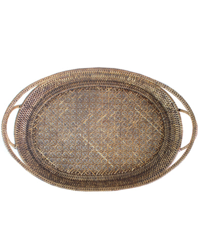 Oval Woven Rattan Tray, Antique Brown