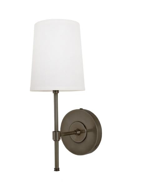 Adams Wall Sconce with Linen Shade, Bronze