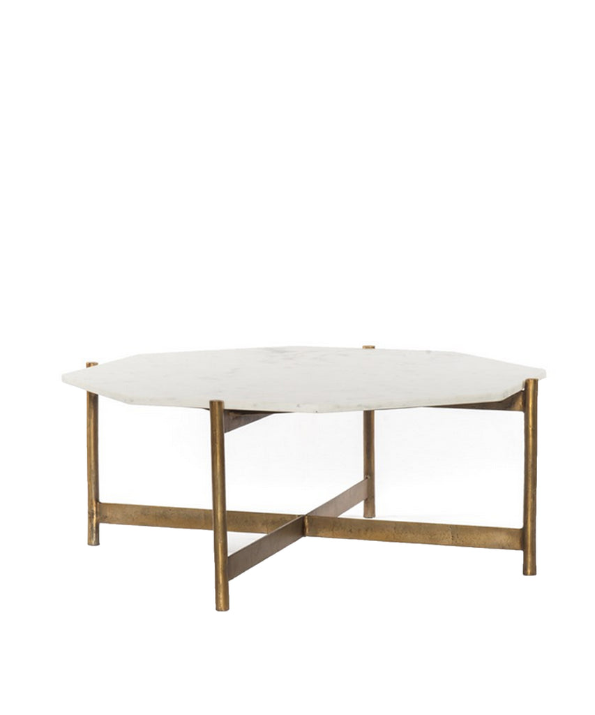 Addison Marble Top Coffee Table, Brass