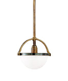 Stratford Dome Pendant, White Glass with Antique Brass