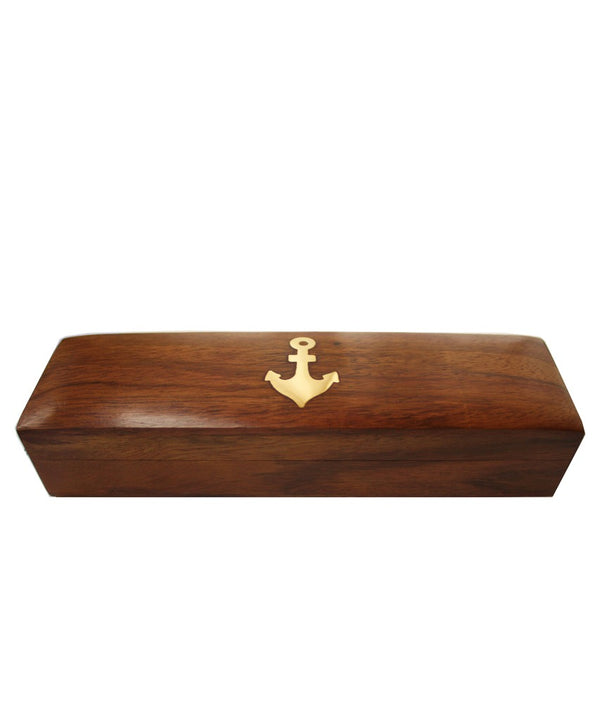 Nautical Wood Box with Brass Anchor