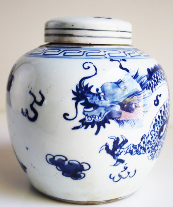 "Blue & White Dragon Ginger Jar, 6.5"" Small"