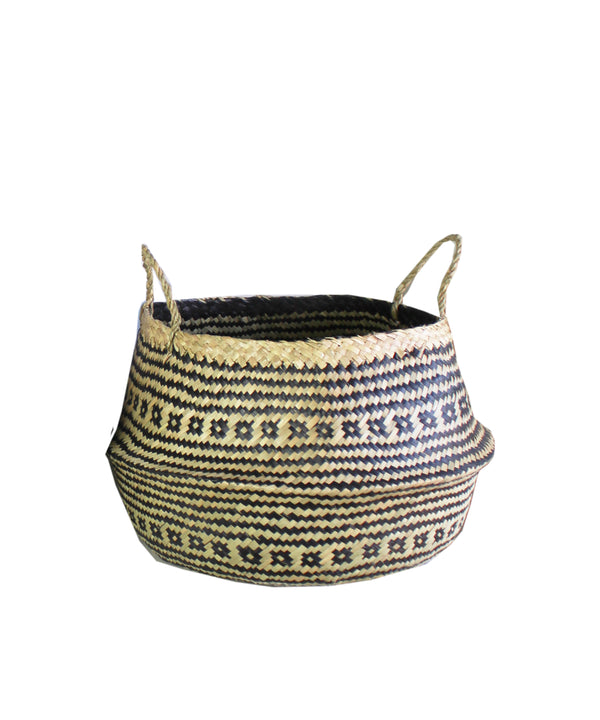Woven Sea Grass Basket, Black & Natural