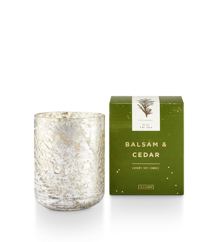 """Balsam & Cedar"" Luxe Sanded Mercury Glass Candle"