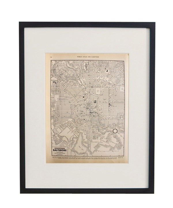 Vintage Framed City Map, Baltimore