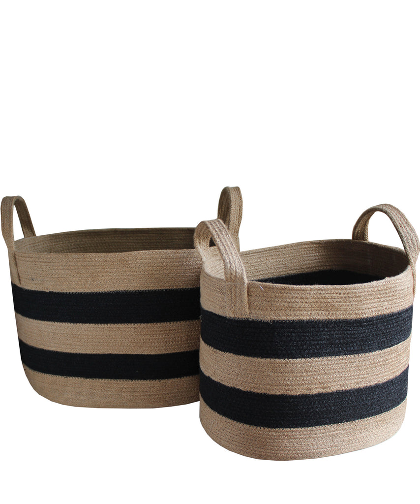 Striped Woven Jute Basket