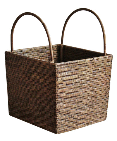 Large Square Woven Basket, Antique Brown