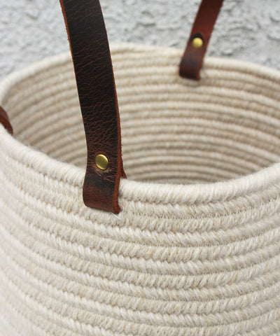 Braided Wool Baskets, Ivory & Navy with Leather Handles