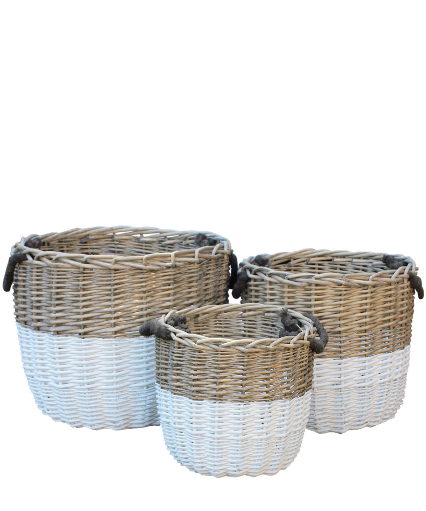 Dipped Woven Basket with Rope Handles