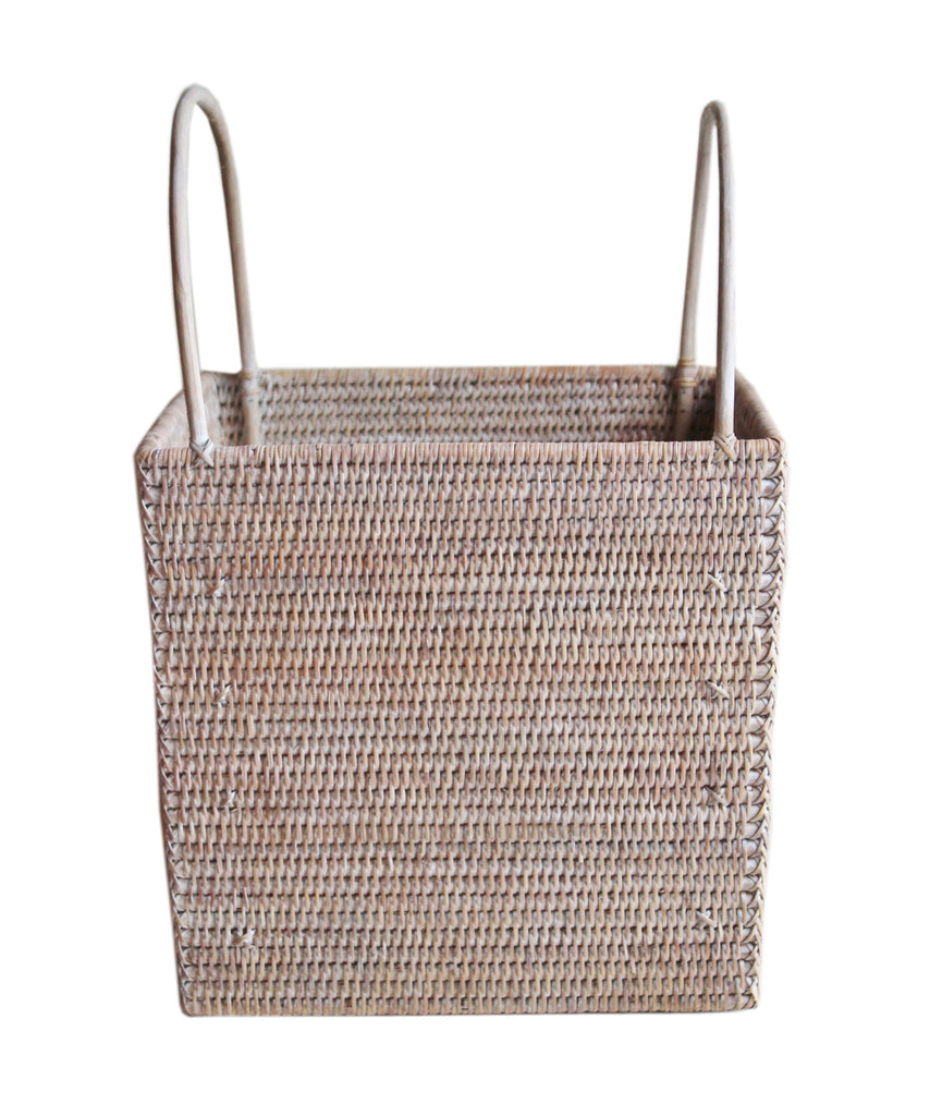 Large Square Woven Basket, White Wash