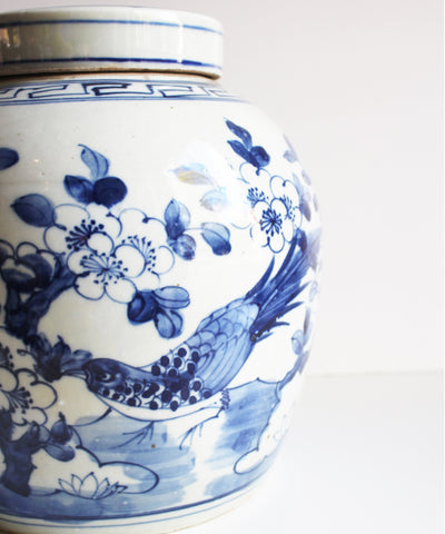 "Blue & White Ginger Jar, 10"" Birds"