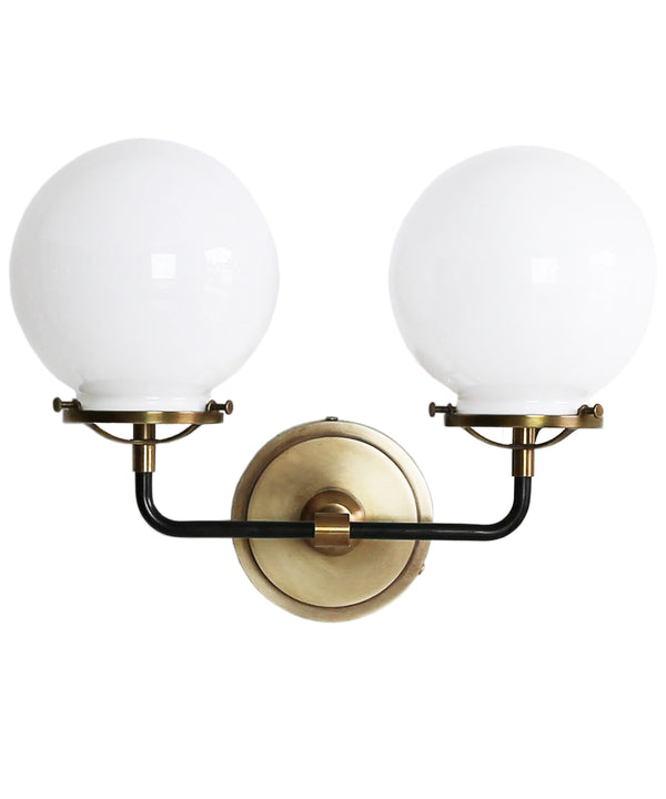 French Bistro Double Sconce with White Glass, Antique Brass and Bronze