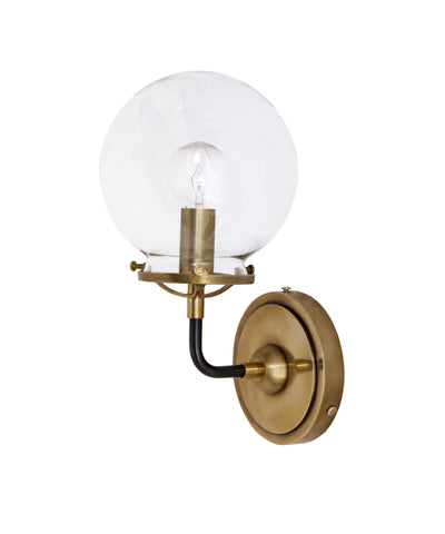 French Bistro Single Sconce with Clear Glass, Antique Brass and Bronze