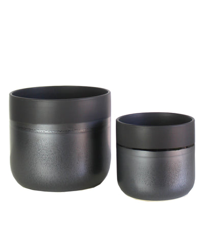 Dipped Matte Ceramic Planter, Black