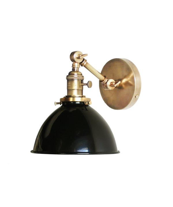 Jefferson Single Short Arm Wall Sconce with Black Enamel Shade, Antique Brass