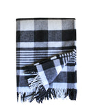 Plaid Throw Blanket, Navy/Natural, Faribault Woolen Mill Co.