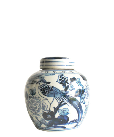 "Blue & White Bird Ginger Jar, 6.5"" Small"