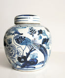 Blue & White Bird Ginger Jar, 6.5