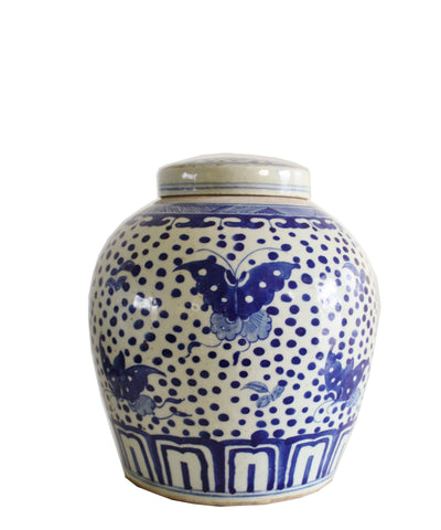 "Blue & White Ginger Jar, 10"" Butterflies"
