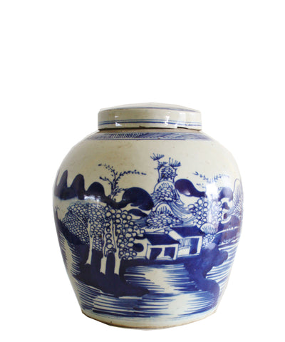 "Blue & White Ginger Jar, 10"" Country Landscape"
