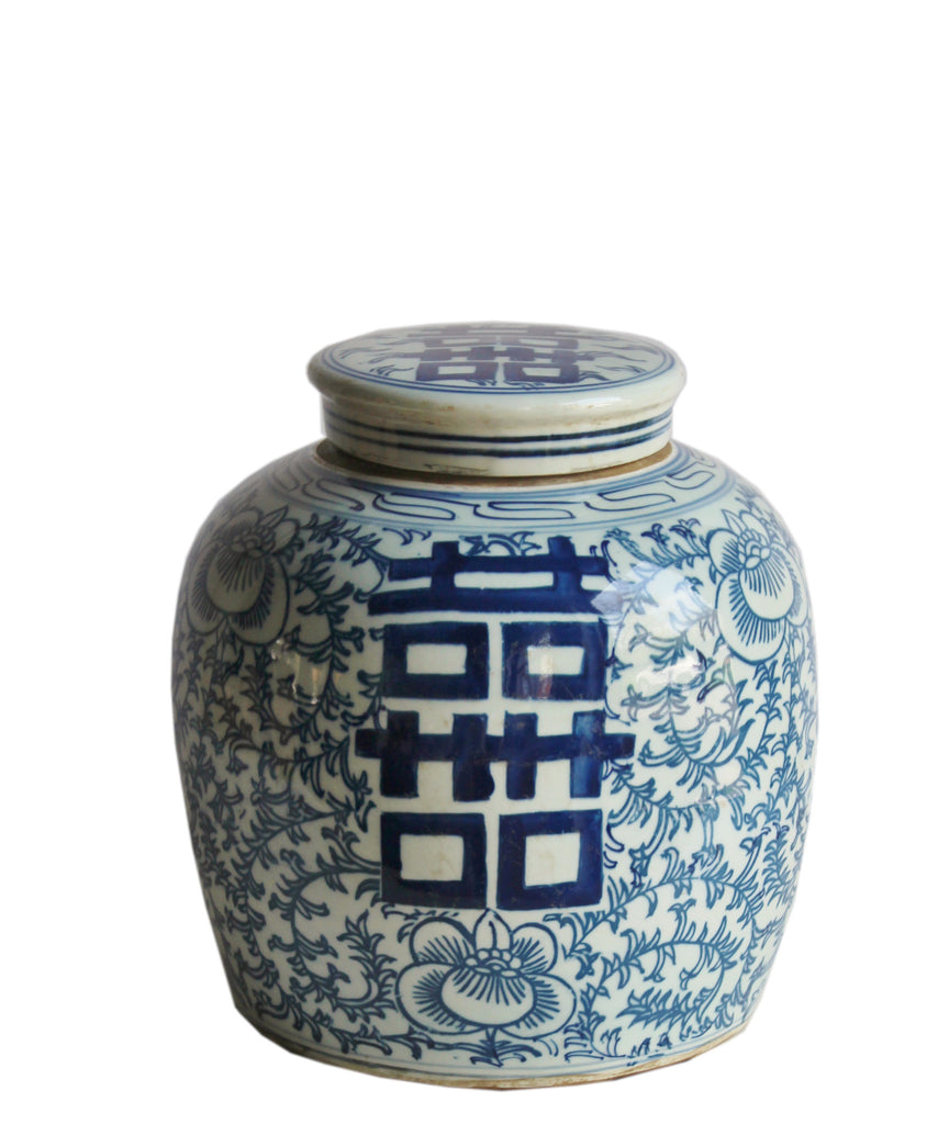 "Blue & White Ginger Jar, 10"" Double Happiness"
