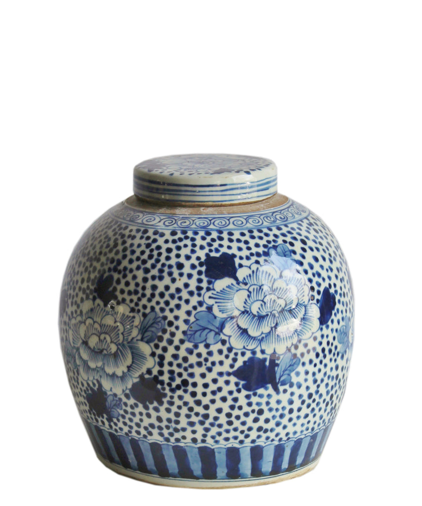 "Blue & White Ginger Jar, 9.5"" Flowers & Dots"