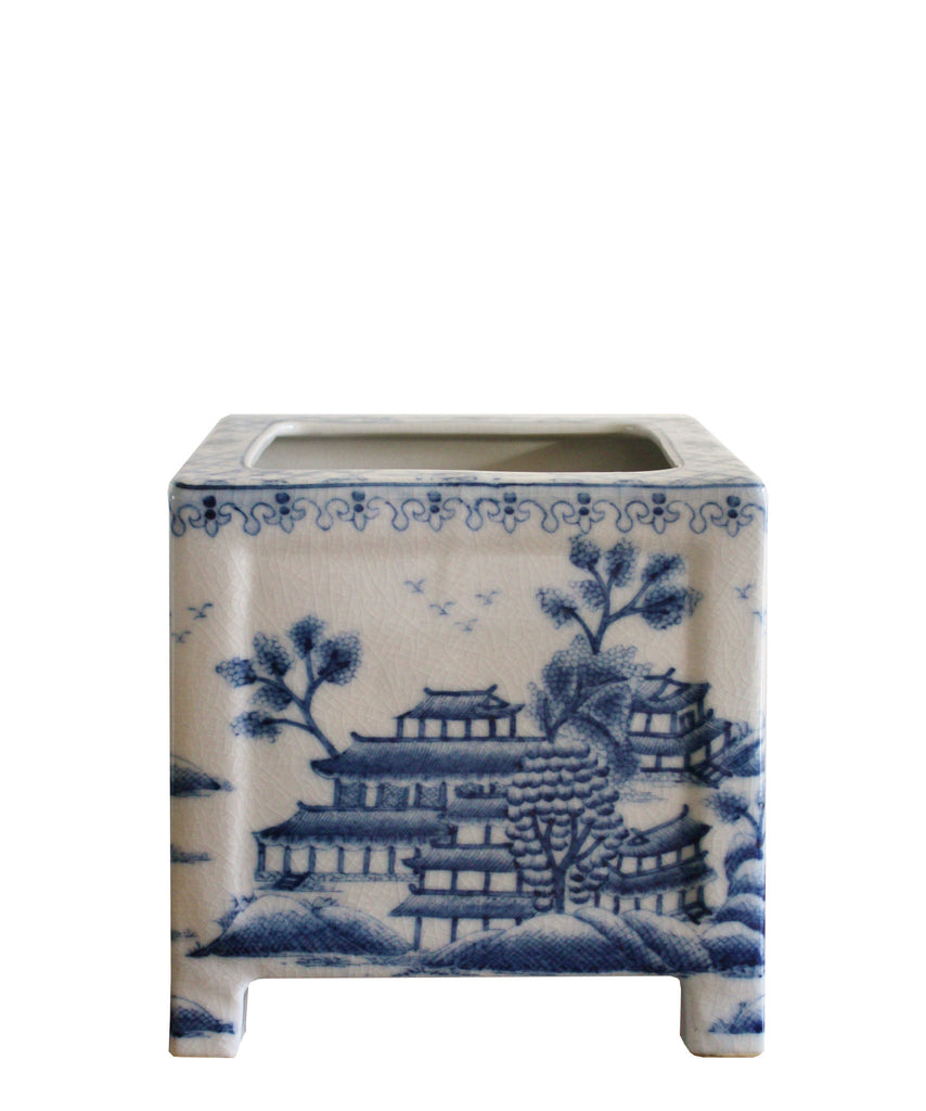 Blue & White Pagoda Planter
