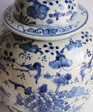 Large Blue & White Floral Ginger Jar