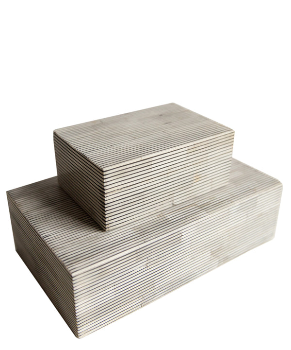 Pinstripe Bone Clad Storage Box