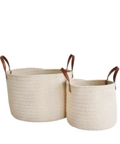 Braided Wool Baskets, Ivory with Leather Handles