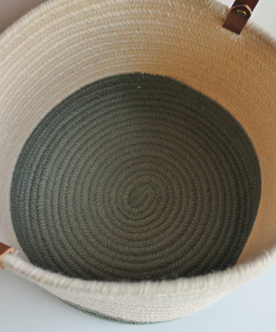Braided Wool Baskets, Ivory & Sage with Leather Handles
