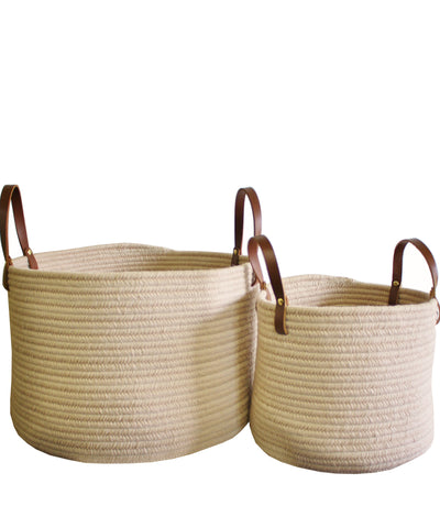 Braided Wool Baskets, Sand with Leather Handles